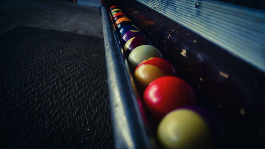 Close-up of colorful snooker balls