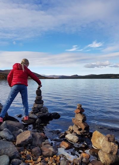 Stone By Stone One More Nature Cairn Water Full Length Standing Sports Clothing Lake Red Rear View