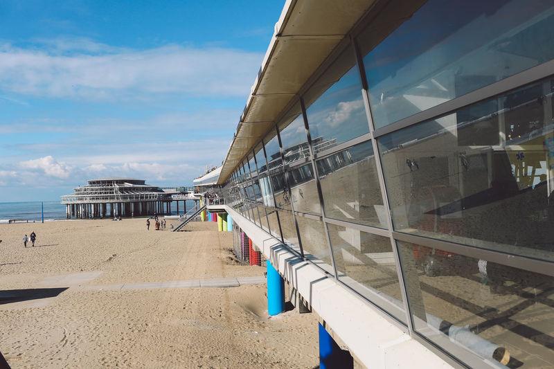 Autumn Beach Blue Sky Clouds De Pier Dutch Ferris Wheel Glass Pier Reflection Sand Sea Seaside Shore Sunny
