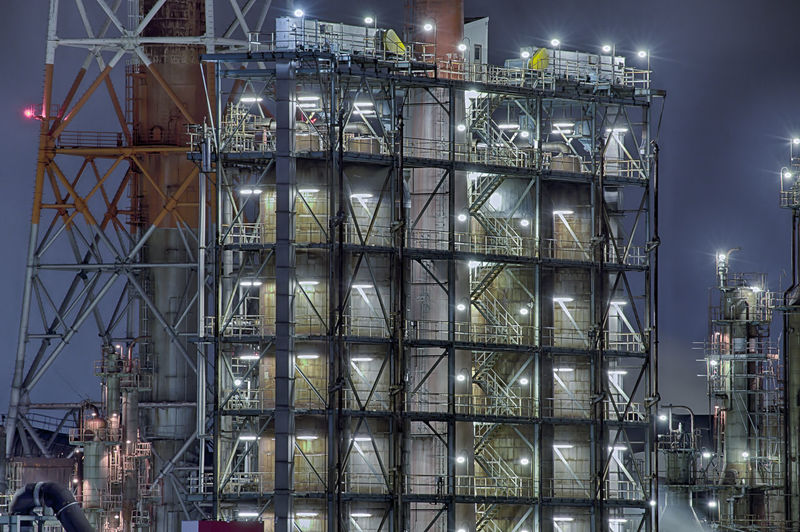 Architecture Building Exterior Built Structure Industry Illuminated Night Reflection Factory No People City Building Development Outdoors Low Angle View Construction Industry Glass - Material Sky Fuel And Power Generation Metal Nature Japan Yokohama Chemical Plant HDR Hdrphotography Pentax