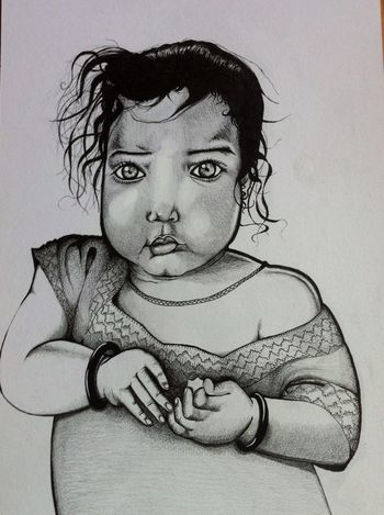 Young child. Pencil and pen sketch Genskiart
