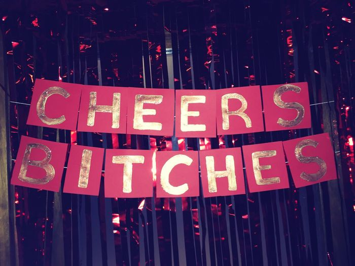 Text Red Night Cheers Drink Party Celebration Henparty