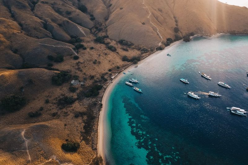 Aerial view of yachts in sea