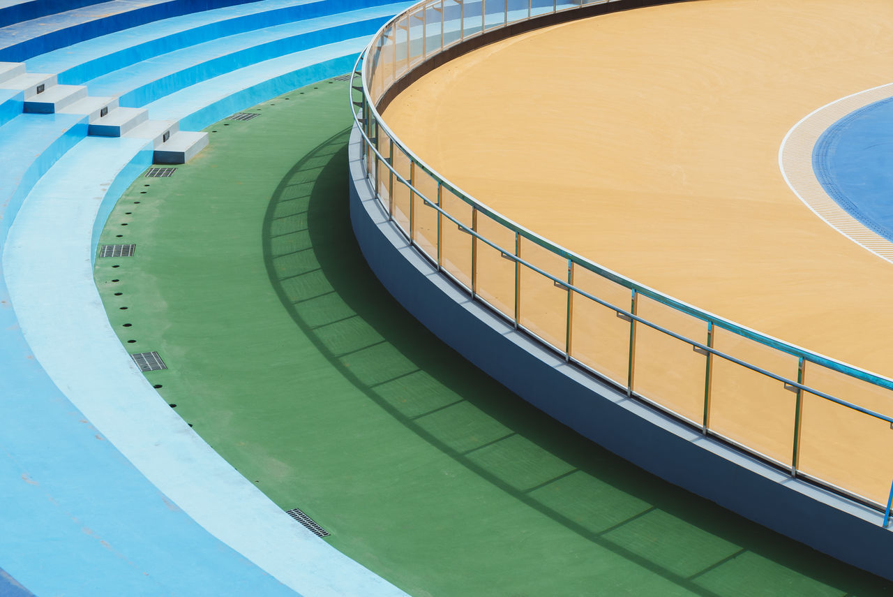 Photos from Taiwan-Trip 2017 Pastel Power Running Sports Field Absence Architecture Blue Built Structure Curve Day Empty Geometric Shape Green Color High Angle View Nature No People Outdoors Pastel Pastel Colors Railing Running Track Shape Sport Staircase Water Yellow
