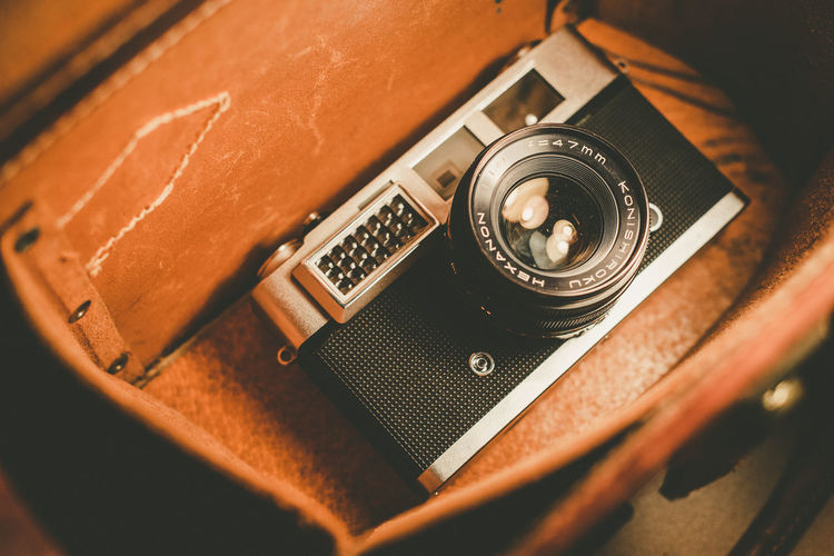 High angle view of old camera