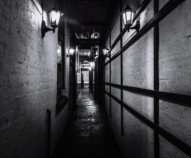 Hidden Northampton, Sacre Bleu! Lovely alleyway behind the door... Blackandwhite Blackandwhite Photography Alleyway Avenues & Alleyways Lamps Light Bouncer Built Structure Architecture Shadow