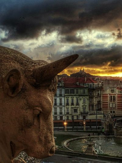 Sunsetlovers HDR Clouds_of_our_world Eye4photography  Sunset_collection Sunset And Clouds  Monuments Of The World Notredamedelagarde BonneMère Sculpture Statue Architecture Built Structure Cloud - Sky No People Sky Outdoors Cityscape Sunset City Water