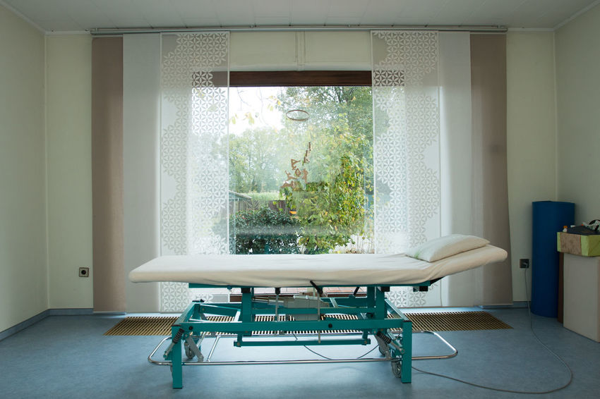 physiotherapy massage table Physio Absence Architecture Balance Chair Curtain Domestic Room Empty Emtpy Flooring Furniture Glass - Material Home Interior Indoors  Massage Massage Table Massage Therapy No People Physiotherapy Profesional  Seat Table White Color Window Windows