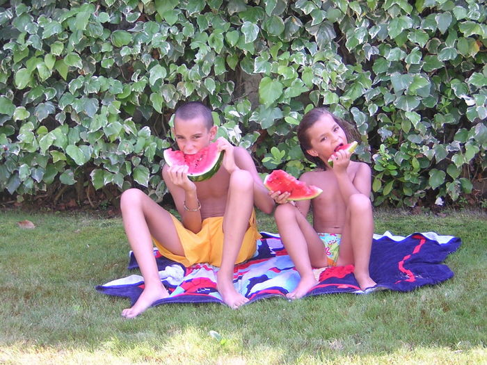 Full Length Portrait Of Shirtless Siblings Eating Watermelons Against Plants On Grassy Field