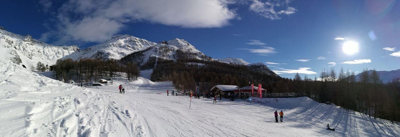 Snow Winter Mountain Winter Sport Adventure People Panoramic