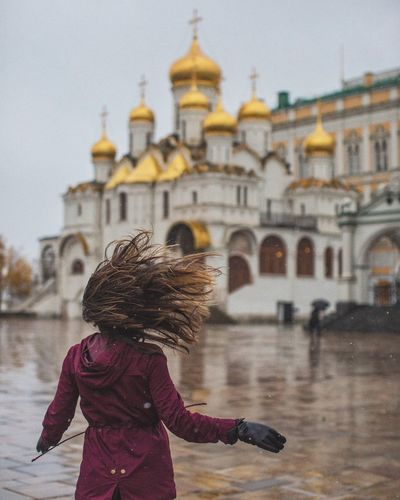 Be. Ready. Architecture Built Structure Real People One Person Religion Building Exterior Rear View Focus On Foreground Place Of Worship Outdoors Spirituality Day Lifestyles Women Travel Destinations Sky Water City Young Adult Adult Moscow EyeEmNewHere