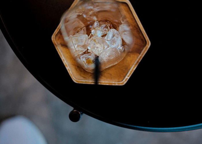 High angle view of ice cream in glass
