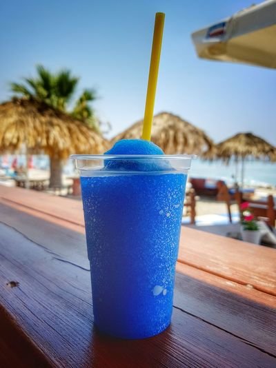 Slushie.... Drink Drinking Straw Food And Drink Cold Drink Refreshment Holiday Cold Temperature Cold Drinks Sommergefühle Blue Beach Freshness Ice Slush Slushie Refresh Summer Beach