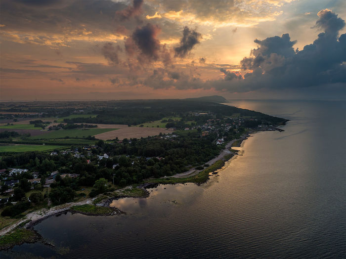 The impressive Kullaberg in southern Sweden with it's rough weather conditions and lighthouse. A Bird's Eye View Aerial View Beauty In Nature Cloud Cloud - Sky Coastline Dronephotography Kullaberg Lighthouse Nature Ocean Outdoors Scandinavia Scania Scenics Sea Seascape Shore Sky Sunset Sweden Tranquility Water