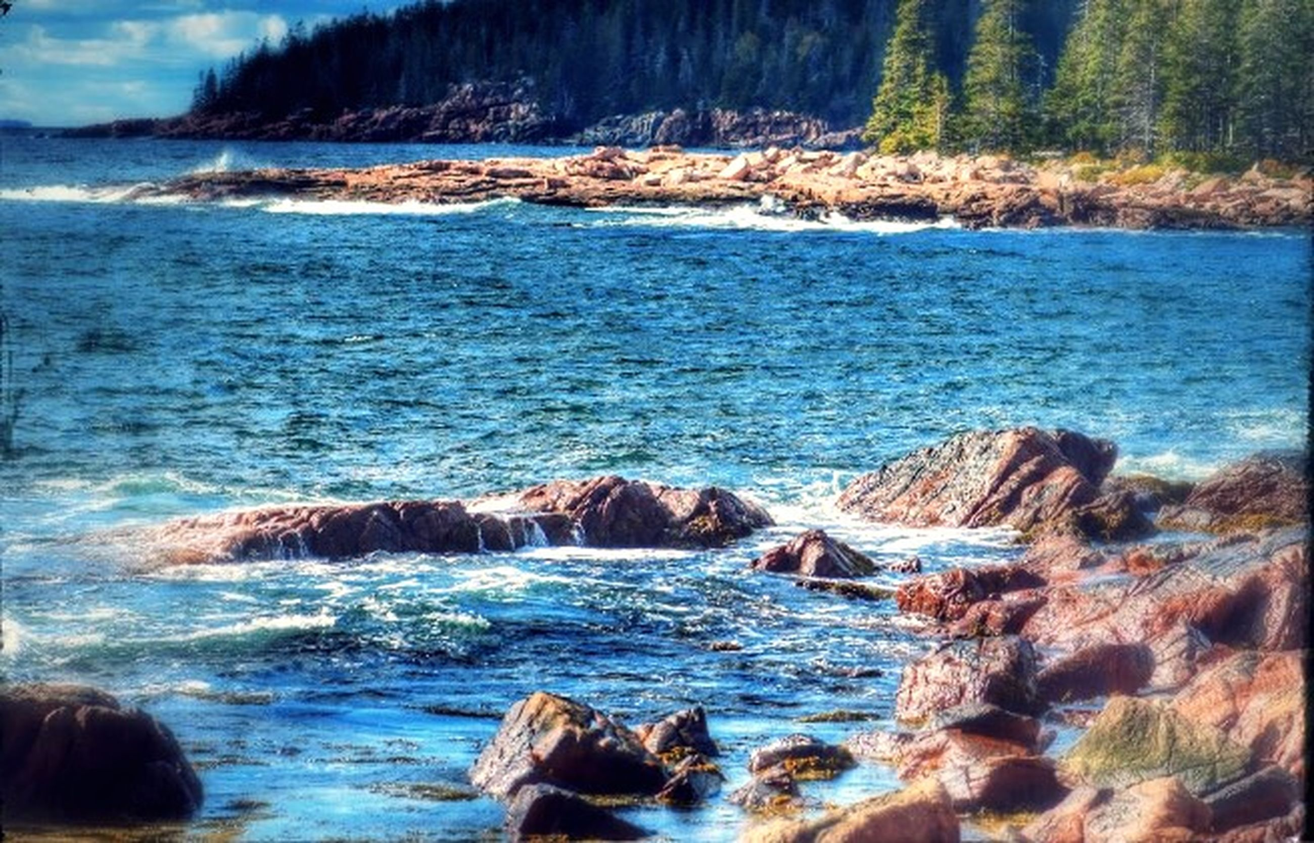 water, sea, scenics, beauty in nature, tranquil scene, rock - object, nature, tranquility, rock formation, surf, wave, rock, idyllic, motion, sky, non-urban scene, rippled, remote, outdoors, blue