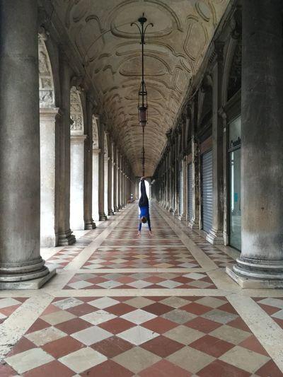 Arcade Arch Architecture Building Ceiling Colonnade Corridor Flooring Handstand ♥  Handstandseverywhere Sport Tiled Floor