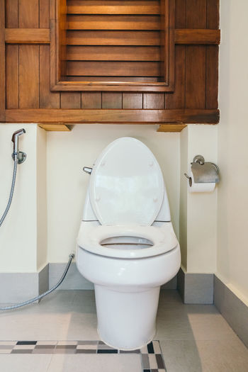 Toilet Bowl In Bathroom At Home