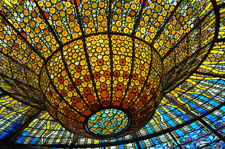 Architectural Feature Ceiling Colorful Colors Colour Colours Coping Design Directly Below Geometric Shape Illuminated Ornate Palau De La Musica Catalana Palau De La Música Palau De La Música BCN Pattern Skylight Stained Glass Stained Glass Window Stained Glass Windows Stained-glass Windows Stainedglass Stainedglasswindow Stainedglasswindows