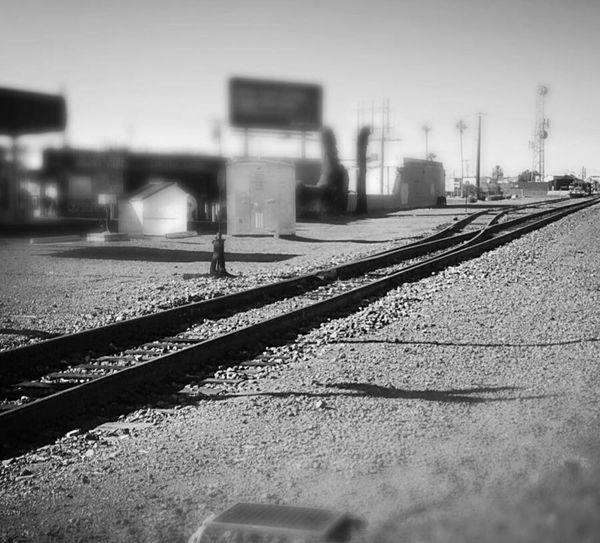 Glendale, Arizona Grand Avenue Downtown Historical Area Train Tracks Trains Black & White