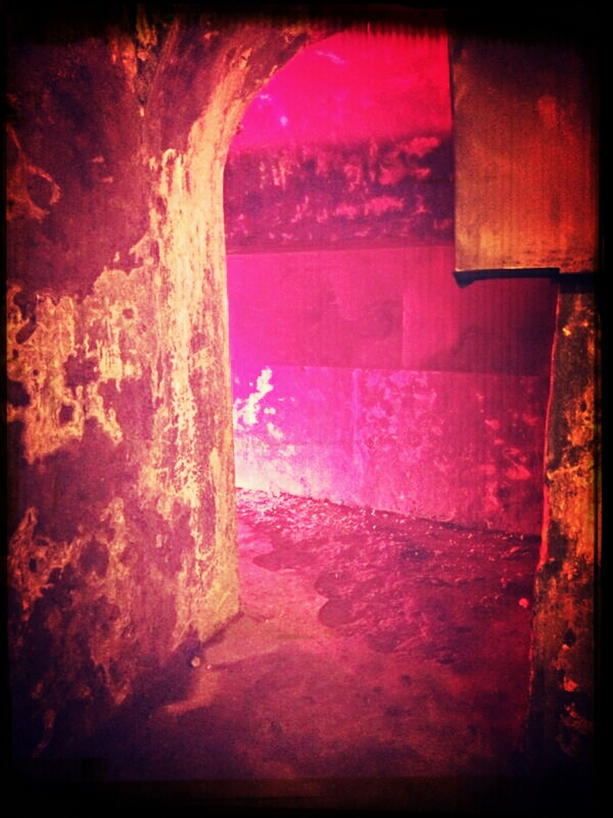 transfer print, auto post production filter, indoors, wall - building feature, built structure, architecture, the way forward, abandoned, old, wall, weathered, day, no people, tunnel, sunlight, brick wall, narrow, house, window, damaged