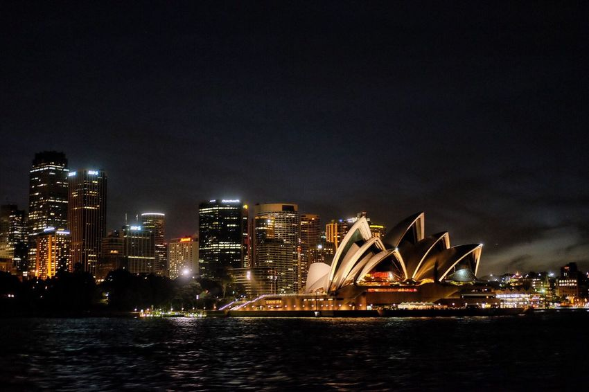 Landscape Night Shot City At Night Operahouse Outdoors Sydney Adapted To The City No People