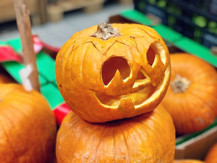 Close-up of carved pumpkin during halloween