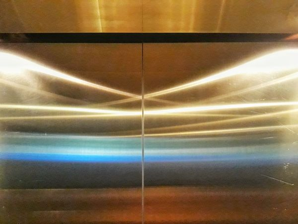 In Lift Elevator Door Gold Colored Textured  Lift Llight Illuminated Close-up Gold LINE Golden Detail Geometric Shape Ceiling