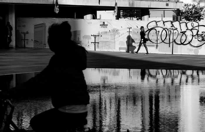 City Moments Shadows & Lights Architecture Black And White Friday City Day Outdoors Reflection Streetphotography Sunset Urban Water Intent