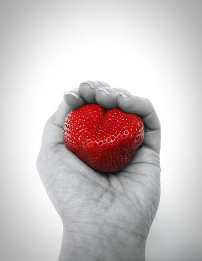 Human Body Part Strawberry Red Heart Shape Human Hand Valentine's Day - Holiday Studio Shot Healthy Eating Love Food And Drink Fruit Close-up Holding Freshness Fine Art Fine Art Photography EyeEm Masterclass Woman's Hand Food Food And Drink Freshness Fresh Healthy Lifestyle Heart Sharing Food Break The Mold Visual Feast Food Stories