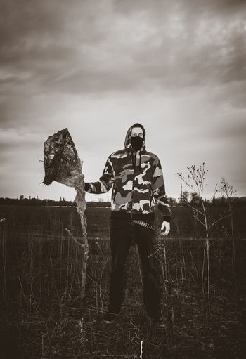 2010 Camouflage Clothing Canon 450D Cloud - Sky Cover Doom Doom Metal Dust Fields And Sky Grass Grotesque Nature One Person Outdoors Scarecrow Selfportrait Standing