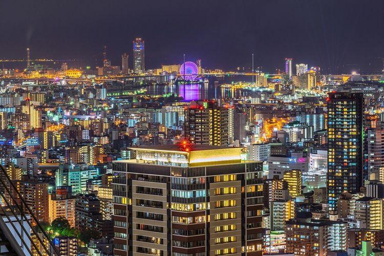 일본 오사카 우메다 스카이빌딩 야경 Japan OSAKA City Night Landscape Cityscapes Night View Nightscape with Sony A7R and Carl Zeiss Zeiss 135za f1.8