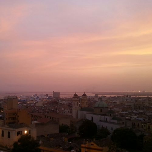 Sunset City Cityscape Illuminated Sky Night Clouds Pink Sunset Pink Cagliari, Sardinia Sardegna Sardinia Skyline Bastionesantacroce