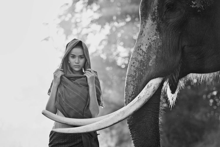 Portrait of smiling woman standing with elephant in temple