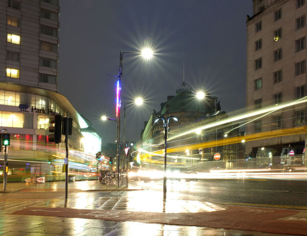 A long exposure photo of Leeds City Square at night with light trails caused by rush hour traffic Leeds Nightphotography Night Cityscape Light Trails Road Illuminated Architecture Street Light Transportation City Long Exposure Blurred Motion Light Trail Speed No People Outdoors Light