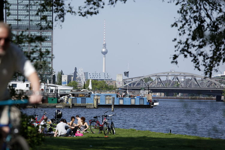 Architecture Building Exterior Built Structure City Communication Day Fernsehturm Berlin  Large Group Of People Nature Nautical Vessel Outdoors Real People Sky Spree River Television Tower Tourism Transportation Travel Travel Destinations Tree Water