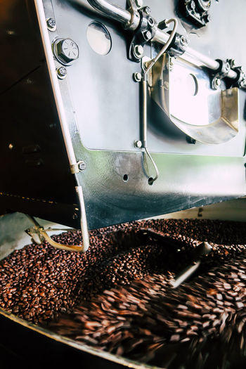 Close-up of coffee beans in factory