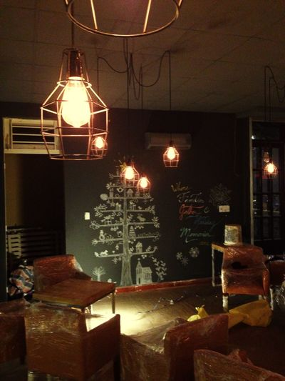 Lights Blackboard Decor My Artwork Christmas Tree Holidays Coffee Shop