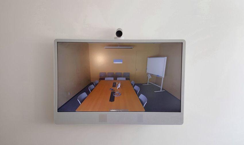 No People Indoors  Videoconferencing Telepresence Meeting Room Conference Videoconference