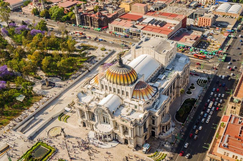 High angle view of palacio de bellas artes against clear blue sky