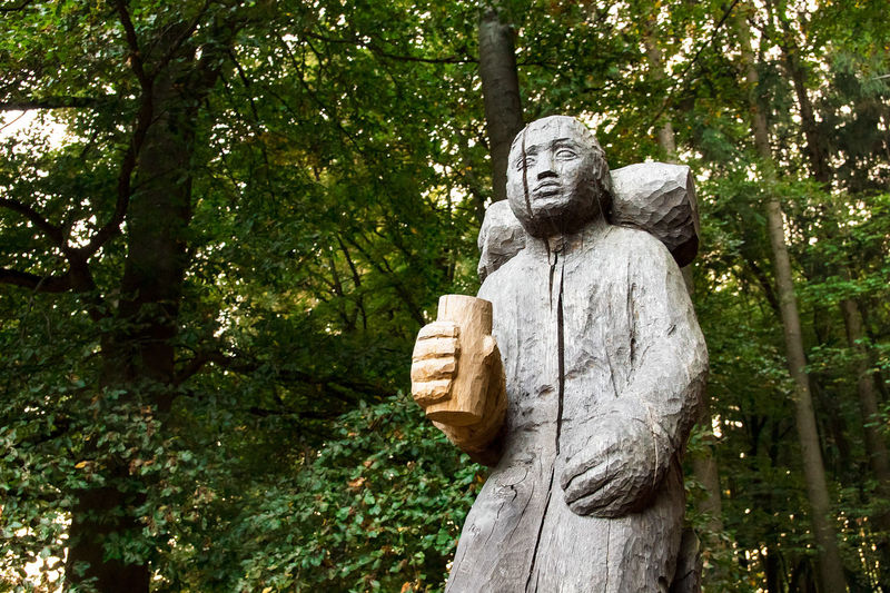 Wanderer sculpture on the way to the top of the Alheimer Mountain, Hesse, Germany Alheim Alheimer Art Art And Craft Beer Branch Creativity Day Green Green Color Growth Human Representation Idol Outdoors Sculpture Statue Tranquility Traveler Tree Tree Trunk