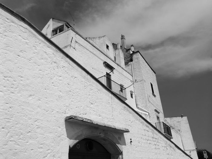 Low Angle View Architecture Built Structure Building Exterior Outdoors Day Sky Blackandwhitephotography Black And White Photography Blackandwhite Photography No Edit/no Filter No Filter, No Edit, Just Photography No Filter Italy🇮🇹 Puglia South Italy Locorotondo Puglia, Italy Architecture