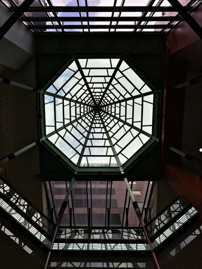 Looking Up. Architectural Feature Architecture Architecture And Art Building Built Structure Ceiling Day Design Directly Below Geometric Shape Glass - Material Indoors  Low Angle View No People Pattern Roof Shape Skylight Sunlight Window Adventures In The City