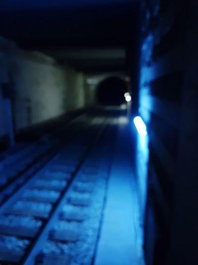 No People Train Tracks Metro Blue Darkness And Light Neon Railway