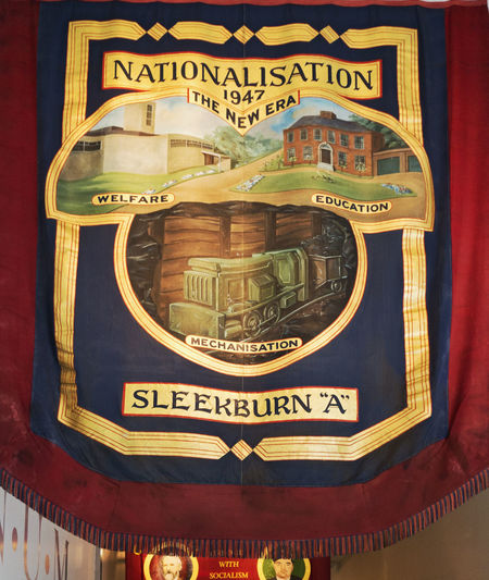 Banner of Sleekburn A mineworkers. Banner Flag History National Unon Of Mineworkers Nationalisaion Northumberlnd Uk