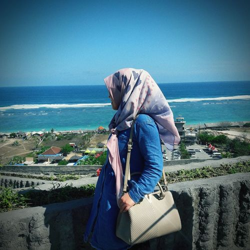 wish you were here Bag Hijabstyle  Hijabbeauty Rotelli INDONESIA Rotellibag Sea Beach Women Blue Clear Sky Sky Horizon Over Water