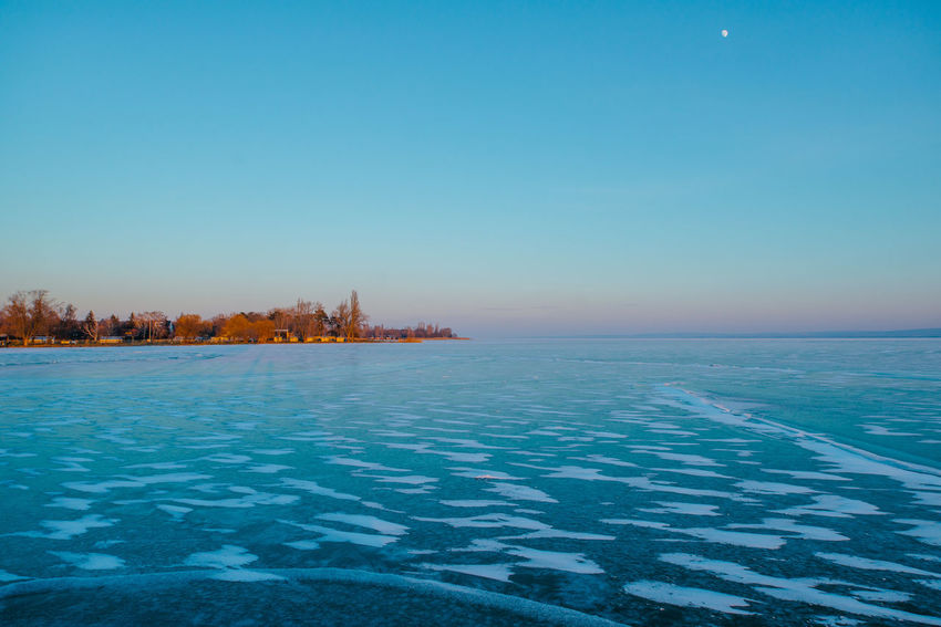 Freezetime Balaton Beach Blue Clear Sky Freeze Ice Lake Landscape Water Winter