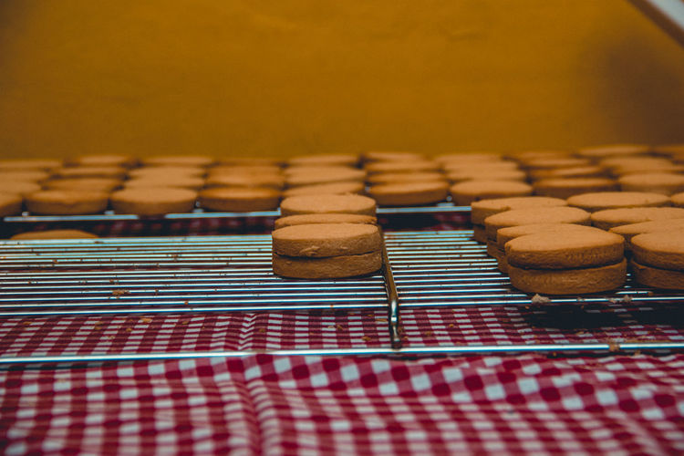 Close-up of biscuits on table
