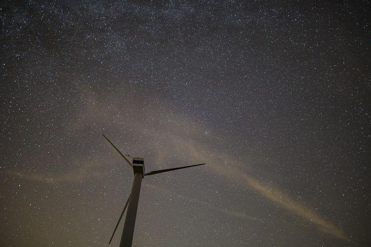 Alternative Energy Ecology Energy Environmental Conservation Fuel And Power Generation Nature Night Power Sky Starbucks Starry Wind Power Wind Turbine
