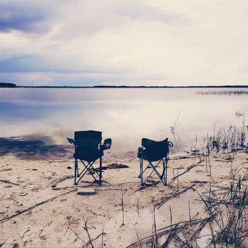 Two chairs Green Chairs Chairs Lake View Lake Sand Coadt Coast EyeEm Selects Water Sea Beach Sunset Salt - Mineral Sand Sunlight Summer Pets Relaxation Romantic Sky Atmospheric Mood Moody Sky Dramatic Sky Storm Cloud Thunderstorm Cloudscape Sky Only Lagoon Atmosphere