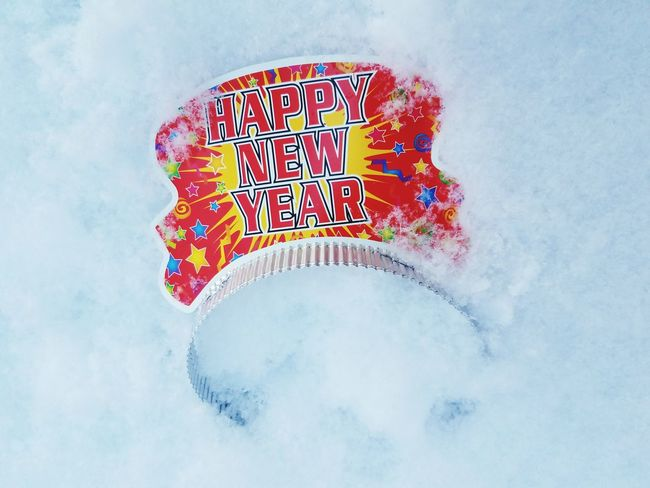 "Cold ""New Year Celebration"" Snow Happy New Year Paper Tiara Cold Front Multi Colored Communication No People Close-up Snowflake Day"